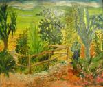 Voyage ds la serre- collage et peinture sur toile
